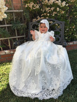 Vintage infant baptism gowns for the newborn baby boy girls white/ ivory long christening gowns with bonnet