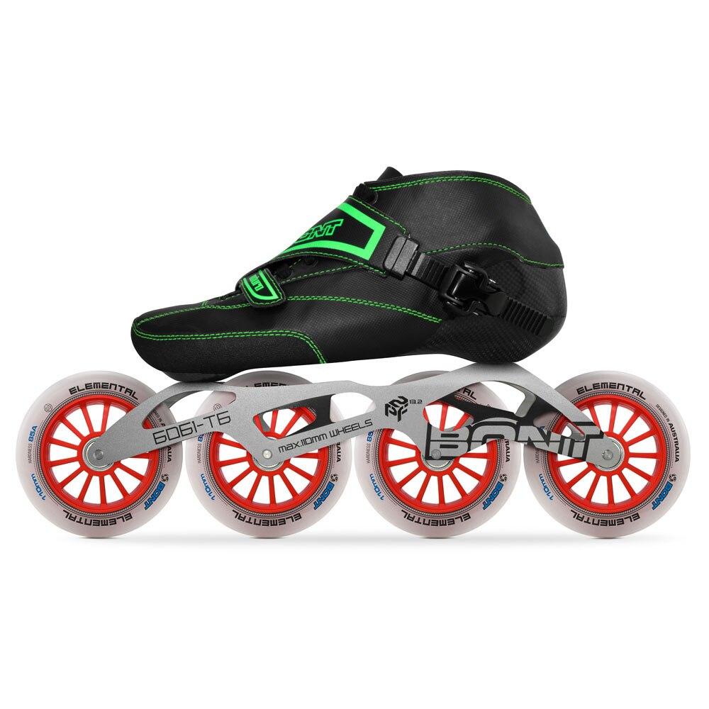 2019 D'origine Bont Enduro 2PT Vitesse roller-skates Heatmoldable Carbone fibre Boot 4*90/100/110mm Élémentaire roues De Patinage Patines