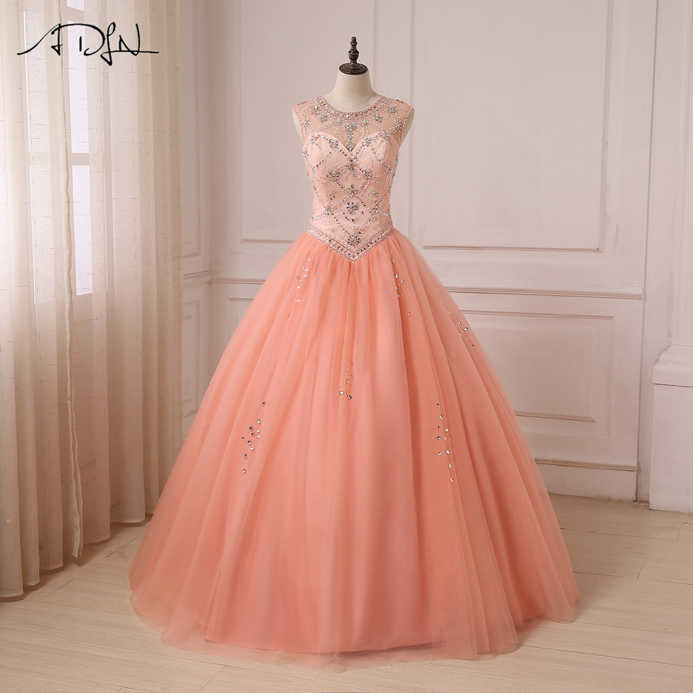 ADLN 2018 Quinceanera Dress Coral Scoop Sheer Neck Sleeveless Beaded Rhinestones Ball Gown Sweet 15 Dresses Tulle Party Gowns