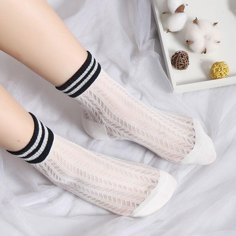 2019 Spring Summer Women Transparent Casual   Socks   Female Thin Crystal Glass Silk Striped Fashion Woman Stretch Silk   Socks   Korean