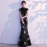 Traditional Chinese Embroidery Elegant Black Lady Qipao Mermaid Long Vintage Cheongsam Sexy Tight Prom Party Dress Oversize 3XL