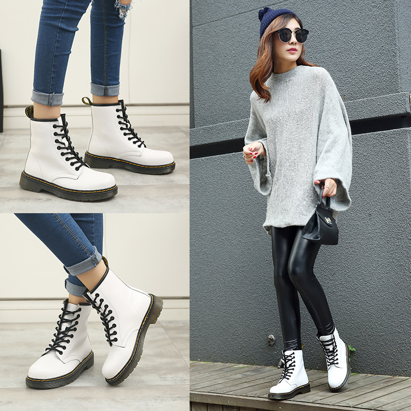 2017 New Spring Fashion Boots Women Shoes for Lady Genuine Leather Boots White Brand Martin Boots Breathable Black Wine Soft