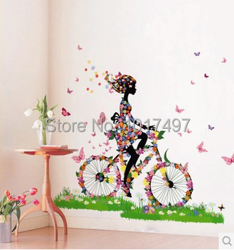 Blissful bicycle ride wall sticker