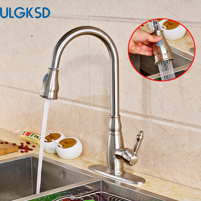 Ulgksd Brushed Nickle Kitchen Faucet Pull Out Sprayer Deck Mounted Cover Hot and Cold Water Taps Bathroom Faucet Mixer Faucet gizero free shipping orange spring kitchen faucet brushed nickle finish single handle hot cold water crane mixing tap gi2069