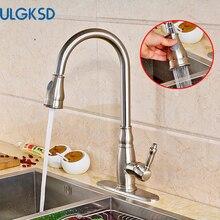 Ulgksd Матовый никель кухонный кран вытащить опрыскиватель на бортике крышка краны горячей и холодной воды для ванной смеситель кран