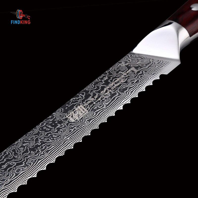 FINDKING AUS 10 Damasco acero palisandro mango Damasco cuchillo 8 pulgadas cuchillo de pan 67 capas cuchillos de cocina para pan tostado-in Cuchillos de cocina from Hogar y Mascotas    3