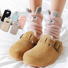 цена на Thick coral fleece Funny socks women Cartoon little monsters embroidered pattern sleep socks Stereo ears half fleece home socks