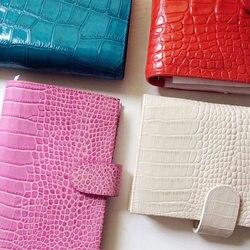 Cuaderno de cuero genuino de lujo de alta calidad, textura de cocodrilo, cuero de vaca, hoja suelta, planificador, cuaderno, juego, relleno de dokibook pag