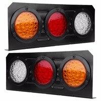 1 Pair 12V 72LED Tail Lights Rear Brake Stop Turn Light Lamp For Trailer Truck Yellow
