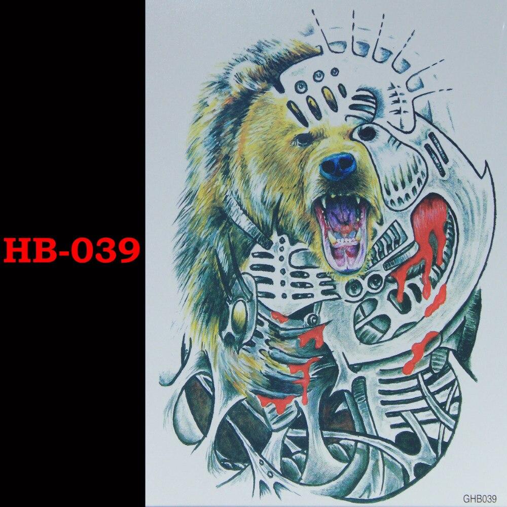 Mekaniska grizzlybjörnar Tillfälliga Tatto Vattentäta Män Kvinnor 3D Tattoo Arm Sticker Fake Arm Sleeve Body Tattoo Axel Tatueringar