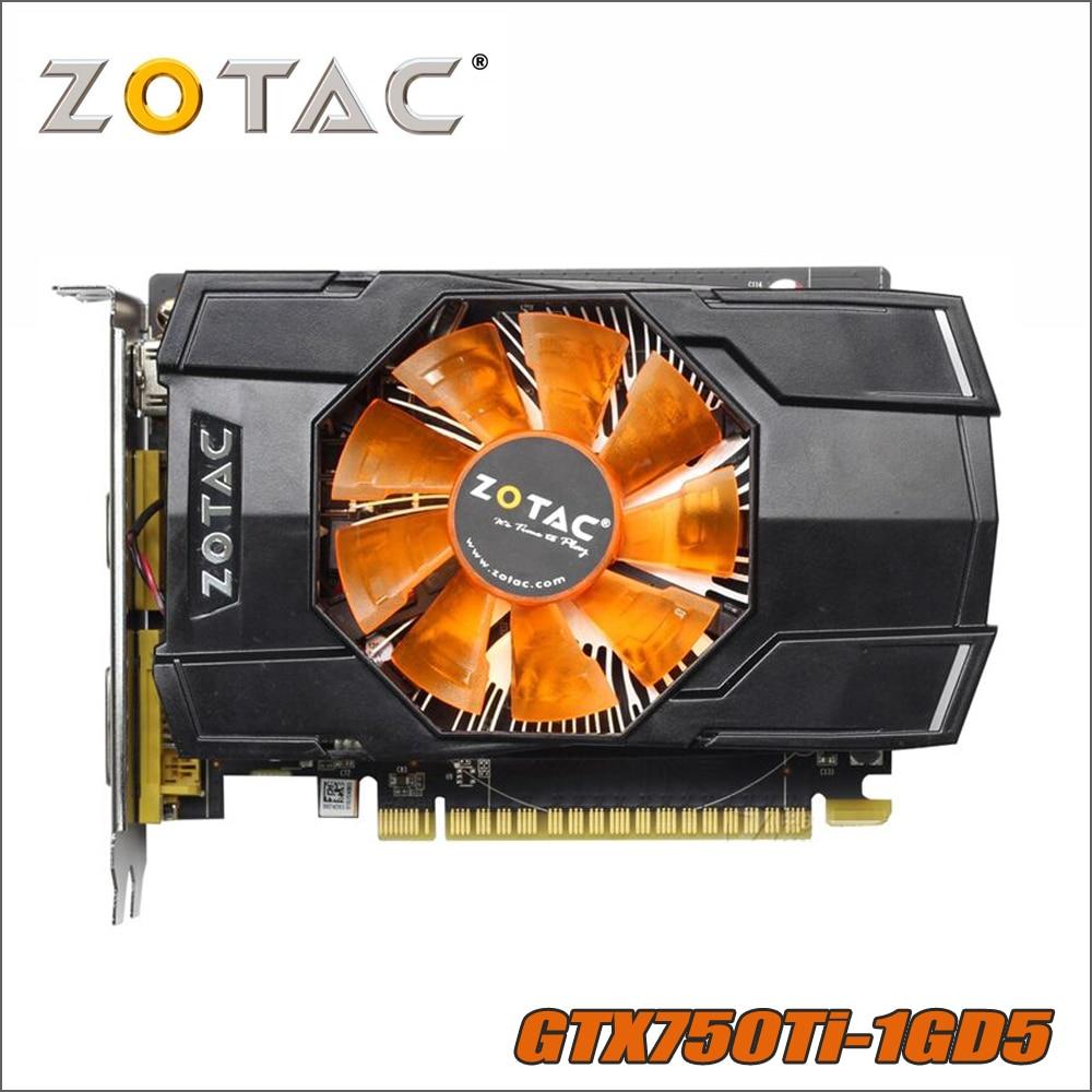 Original tarjeta de Video ZOTAC GeForce GTX 750 Ti 1 GB 128Bit GDDR5 1GD5 tarjetas gráficas de nVIDIA 1050 GTX750 Ti 1GD5 Hdmi Dvi VGA