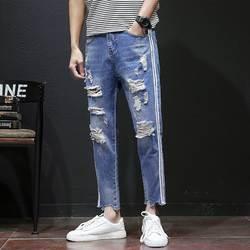 2018 новые джинсы Мужская модная повседневная одежда отверстия Характеристика двумя полосками самосовершенствование ноги ботильоны-Длина