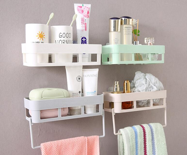 Bathroom Rack With Towel Hanger Shampoo Kitchen Storage Holder Organizer Towel Wall Rack Shelves Corner Shower Shelf Home&Garden