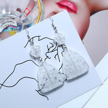 Japanese And Korean Jewelry Fashion Crystal Earrings Personality Crack Geometry