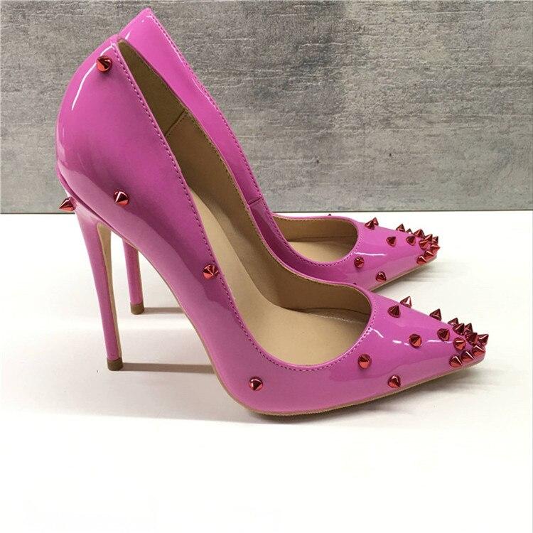 Keshangjia Nieuwigheid Klinknagels Vrouwen Schoenen Roze Lakleren Pumps Puntschoen Hoge Hakken Stiletto Handgemaakte Feestavond schoenen-in Damespumps van Schoenen op  Groep 1
