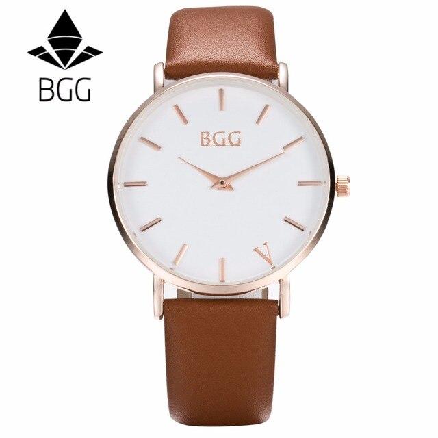 e925c07f429 BGG ultrafinos Gentleman Relógio de Pulso masculino simples Casual relógio  de Luxo genuínos Homens de Couro