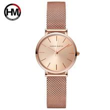Hannah Martin Casual Quartz Watch Women Gold Waterproof Wrist Watches Luxury Brand Ladies Watch Stainless Steel Women Watches