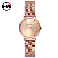 Hannah Martin Casual Quartz Watch Women Gold Waterproof Wrist Watches Luxury Brand Ladies Watch Stainless Steel Women Watches
