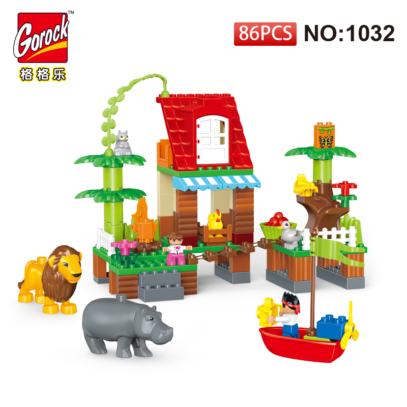 GOROCK 1032 Building Blocks DIY Enlighten Boy Figure Jungle Animal Large Size Bricks Baby Gift Compatible With Duploe Kids Toys 26pcs highway bridge blocks set large train railway building blocks kids diy toys compatible with duploe children gift