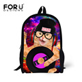 FORUDESIGNS New Stylish Cool Rock Animal Record Printing Schoolbags Rup Hip Hop Dogs Design School Bags for Boys Student Mochila