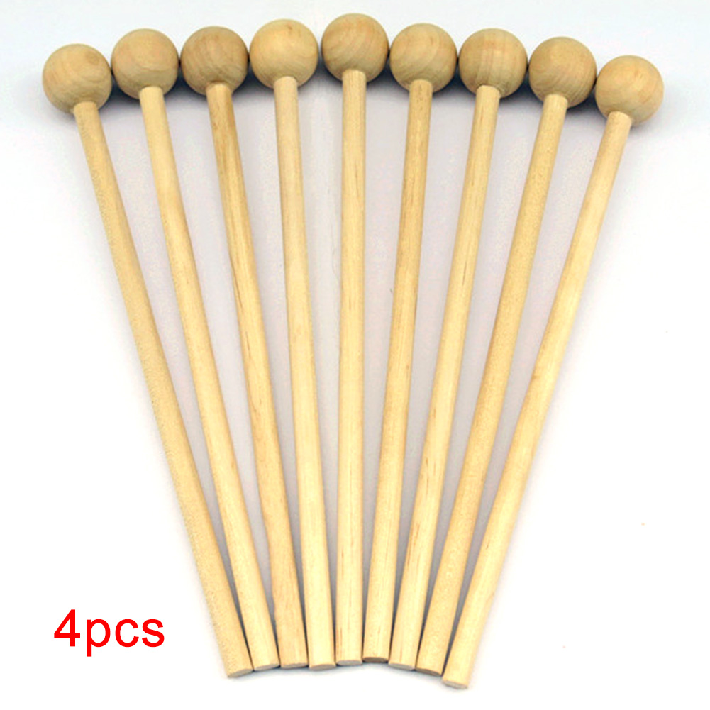 4Pcs Wood Percussion Sticks Toy Instrument Chopsticks Mallet Musical Gift Handle DIY