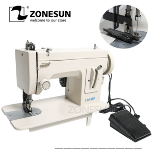 ZONESUN 106-RP-straight máquina de coser del hogar piel caída ropa gruesa herramienta de costura Material de tela gruesa de costura