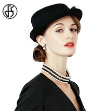 FS British Style Vintage Pillbox Hats For Women Wool Felt Hat Bowknot Veil  Short Brim Black cad21d10240