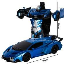 купить New 2.4G Induction Deformation RC Cars Transformation Robot Car Toy Electric Light Music Robot Models Toys for Children Gifts по цене 2148.68 рублей