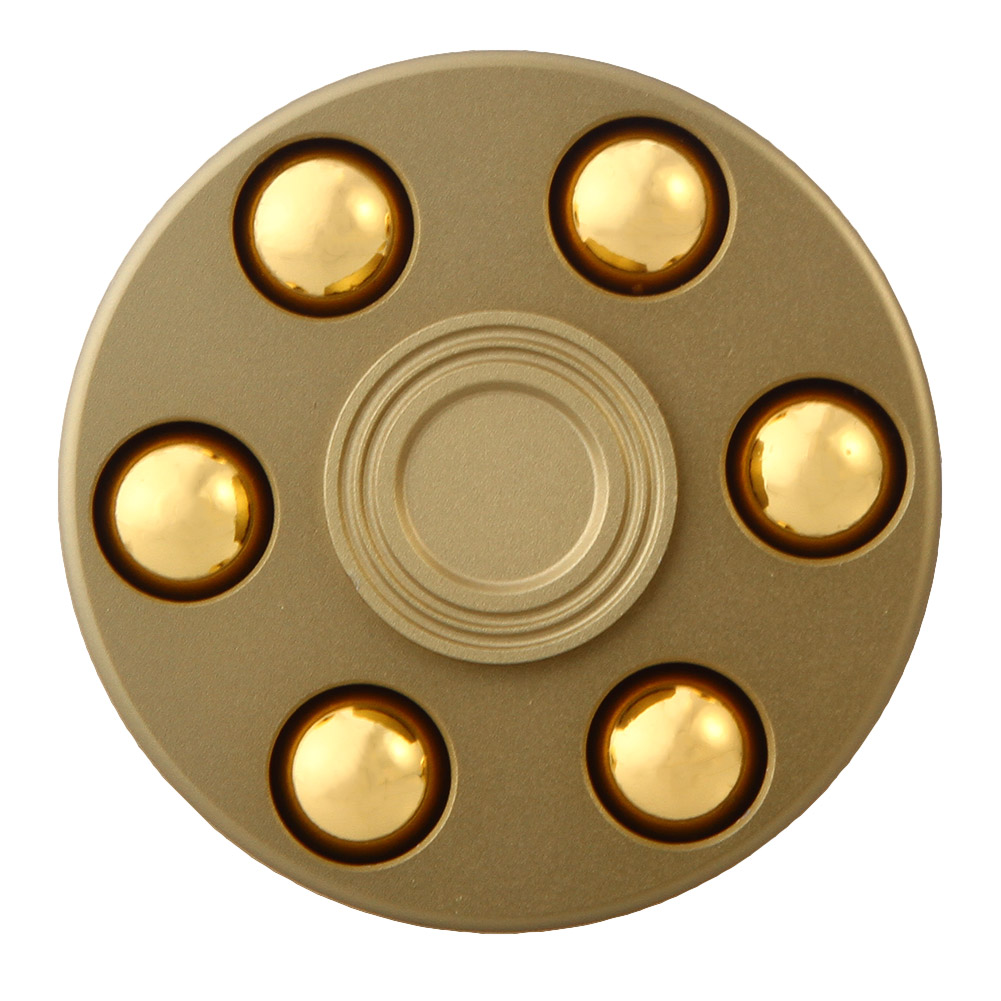 Gold Revolver Gyro Round Wheel Shape Finger Spinner Fidget Metal EDC Hand For Autism ADHD Anxiety