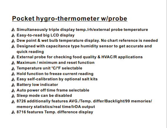 AZ8726 Pocket Hygro-thermometer wprobe High Precision Temperature and Industrial Digital Thermometer Humidity Meter (2)
