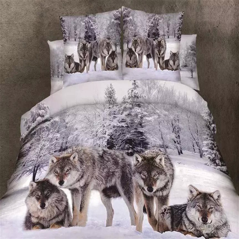 3D Animal Printed Cool Snow Wolf Bedding Set For Queen King Bed,100% Cotton