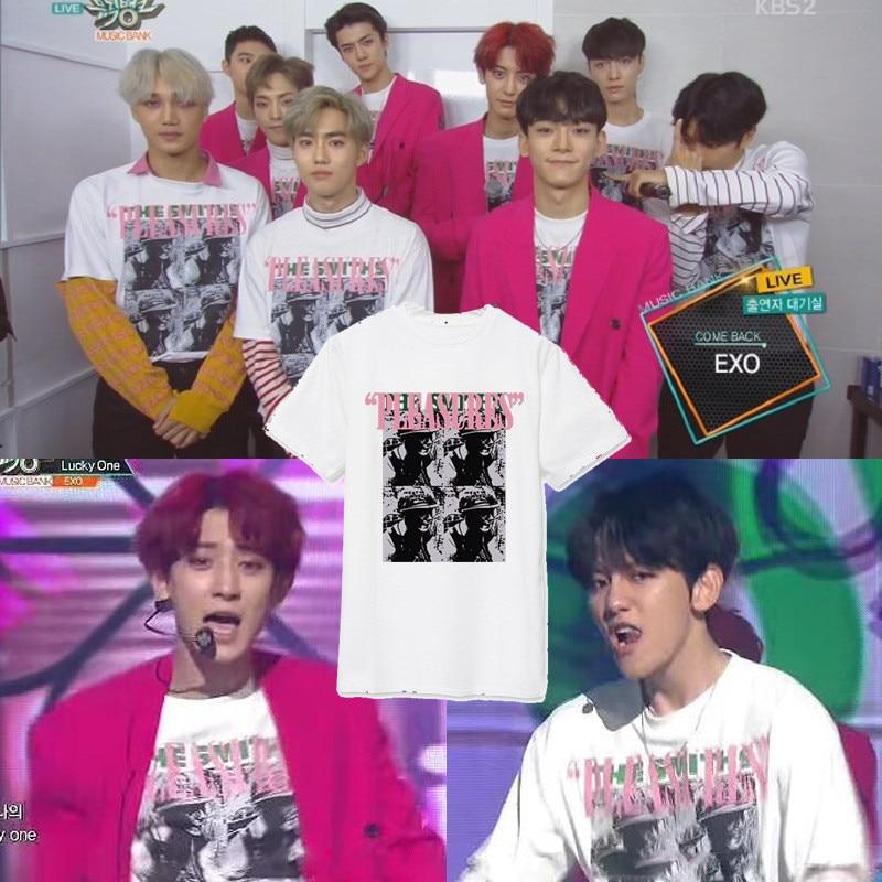 KPOP EXO K Album KPOP T EX'ACT Chanyeol 2016 classic fashion Cotton Clothing Short sleeve T k pop tees