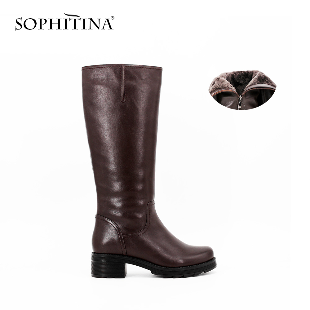 SOPHITINA Full Leather wool Mid-Calf Boots Thick heel Round Toe leather Boots woman Zipper Keep Warm Handmade Winter shoes B026 memunia fashion women boots round toe ladies genuine leather boots square heel zipper cow leather wool keep warm mid calf boots