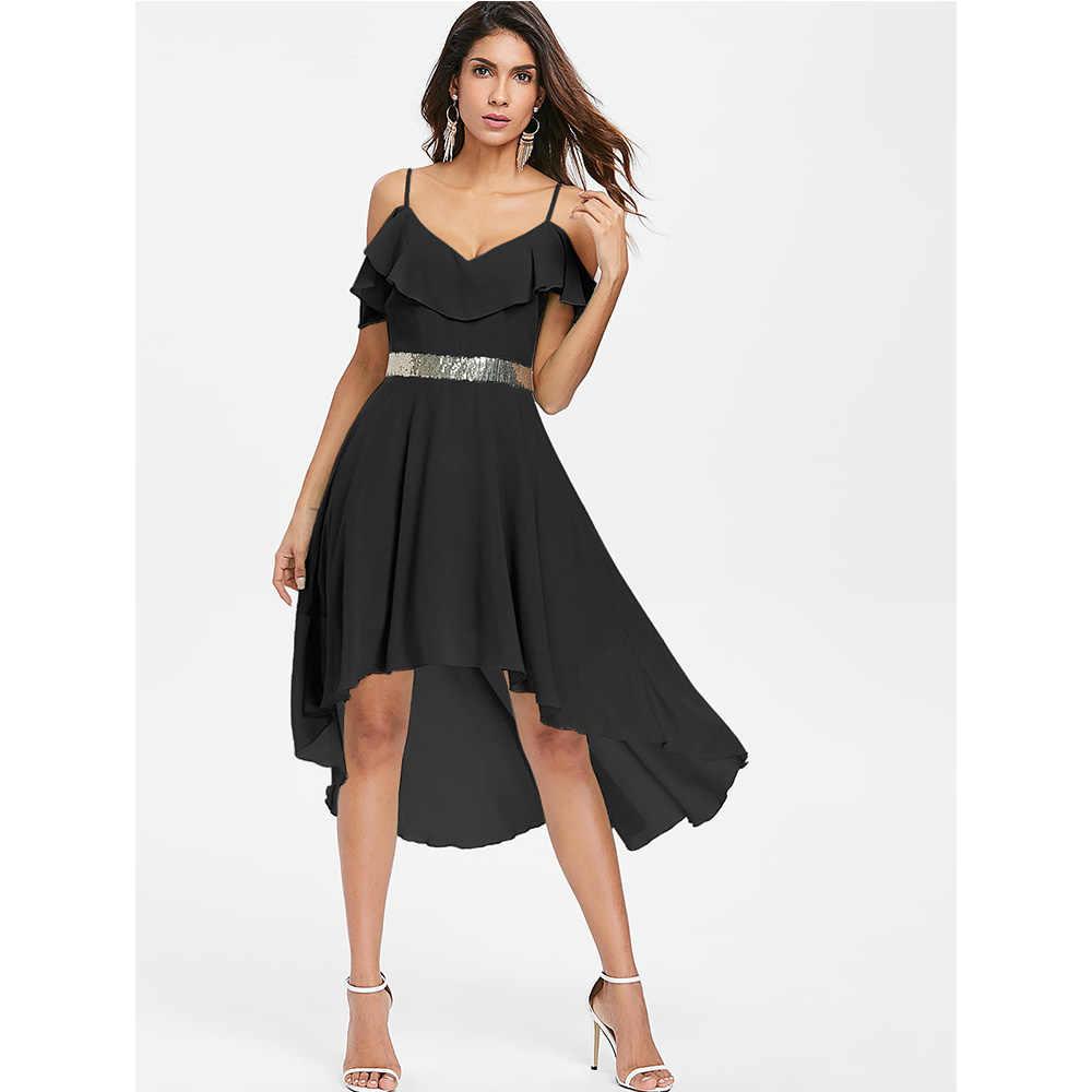 4490e04195a5 ... VESTLINDA Cold Shoulder High Waist High Low Flowy Flounce Chiffon Dress  Women Elegant Party Dresses Summer ...
