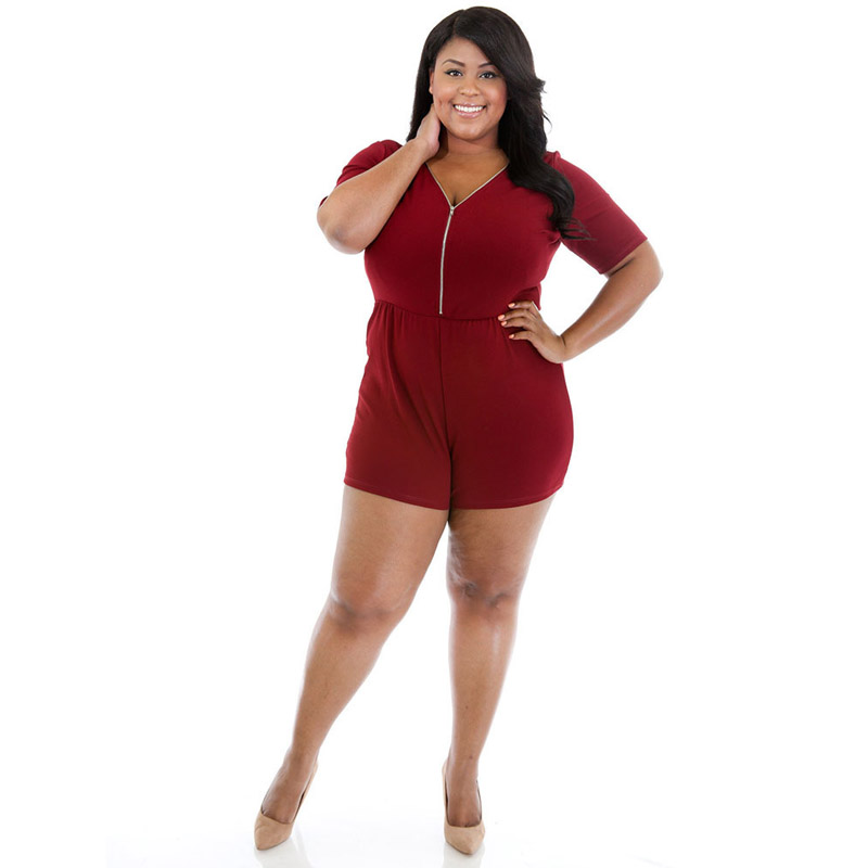 Factory-Direct-Clothing Rompers Women Plus Size xxl xxxl 4xl Sexy Front Back Zippers Short Sleeve Casual Party Playsuits 2017
