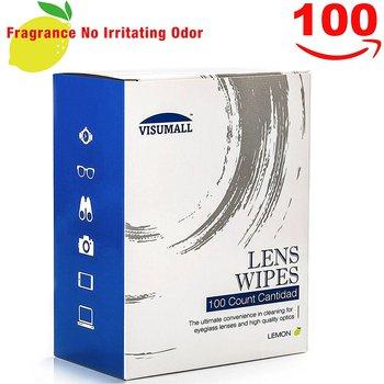 VISUMALL 100 Lens Wipes - Pre-Moistened Cleaning Wipes Portable Travel Cleaner with Light Fragrance Nonirritating (lemon)
