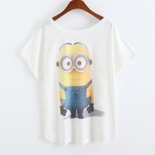 2017 Newest Fashion Loose Casual Short Sleeve T Shirts Women s Short Sleeve Tops Minions Printing