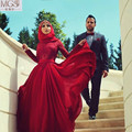 Dubai Arabic Muslim Prom Dresses 2016 Long Sleeves A-Line Burgundy Floor-Length Lace Top Chiffon Vestido De Festa Evening Gowns