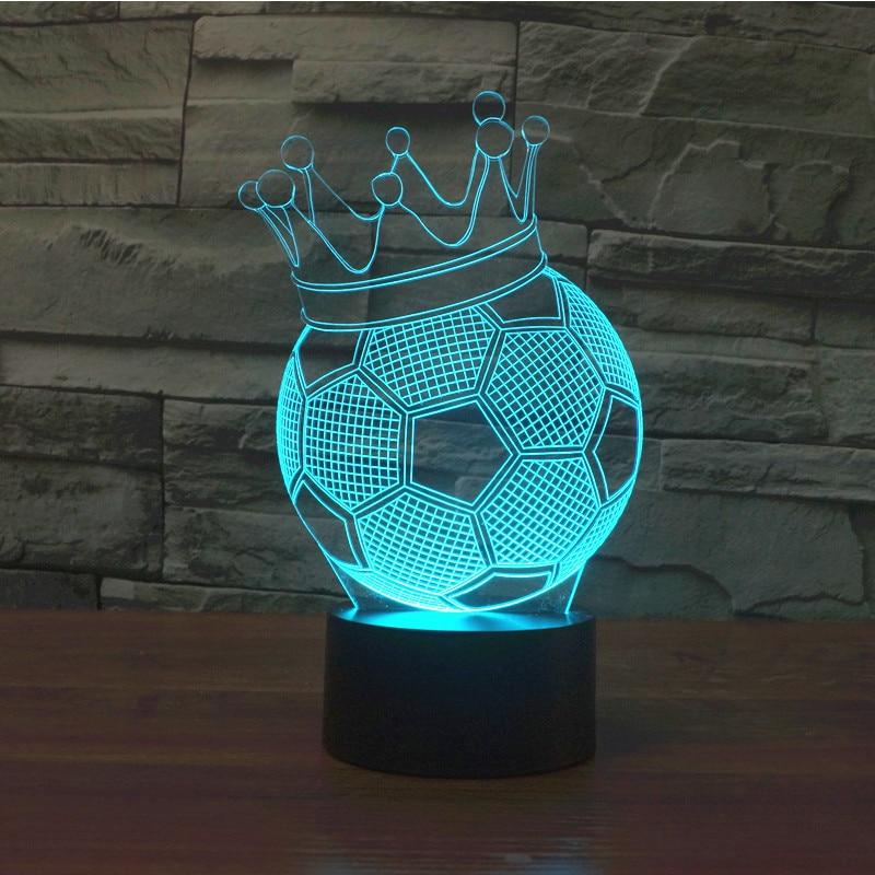 Soccer Ball Lamp Australia: Crown Football Soccer 3D Led Table Lamp Ball Sports