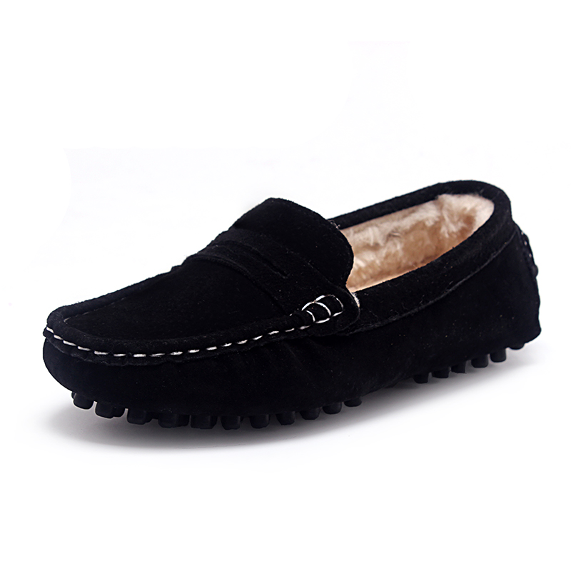 Kids Shoes Genuine Leather Shoes Loafers For Girls With Fur 2018 Winter Fashion Sneakers Children Peas Shoes Casual Boys Walking 2018 new genuine leather kids shoes boys mocassins fashion soft children shoes for boys girls casual flat slip on loafers