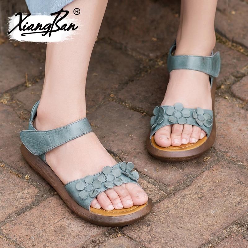 Plattform Xiangban Sohlen Spitze Offene Keil Leder Damen Sommer Frauen Dicken Schuhe Grey 2019 Ferse Sandalen Casual gBpvqwR