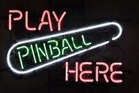 NEON SIGN Cho Play Pinball Ở Đây Game Room Biển Hiệu REAL GLASS BEER BAR PUB hiển thị ngoài trời Ánh Sáng Dấu Hiệu 17*14