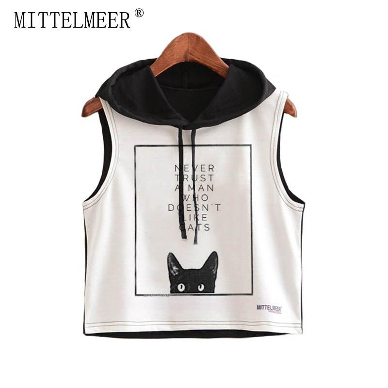 2017 MITTELMEER bare midriff Tank tops Women harajuk Crew Neck Top sleeveless cat Hooded Tanks Summer tops For Ladies