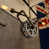 Industrial loft water pipe pendant lights creative retro gear lamp country bar cafe iron pipe suspension hanging light