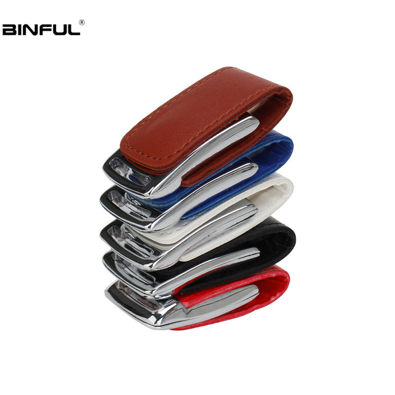 Metal Keychain Usb Flash Drive 32gb Leather Pen Drive Usb 2.0 Flash Disk 16GB 64GB 128GB 4GB 8GB Pendrive Free Custom Logo Gift-in USB Flash Drives from Computer & Office