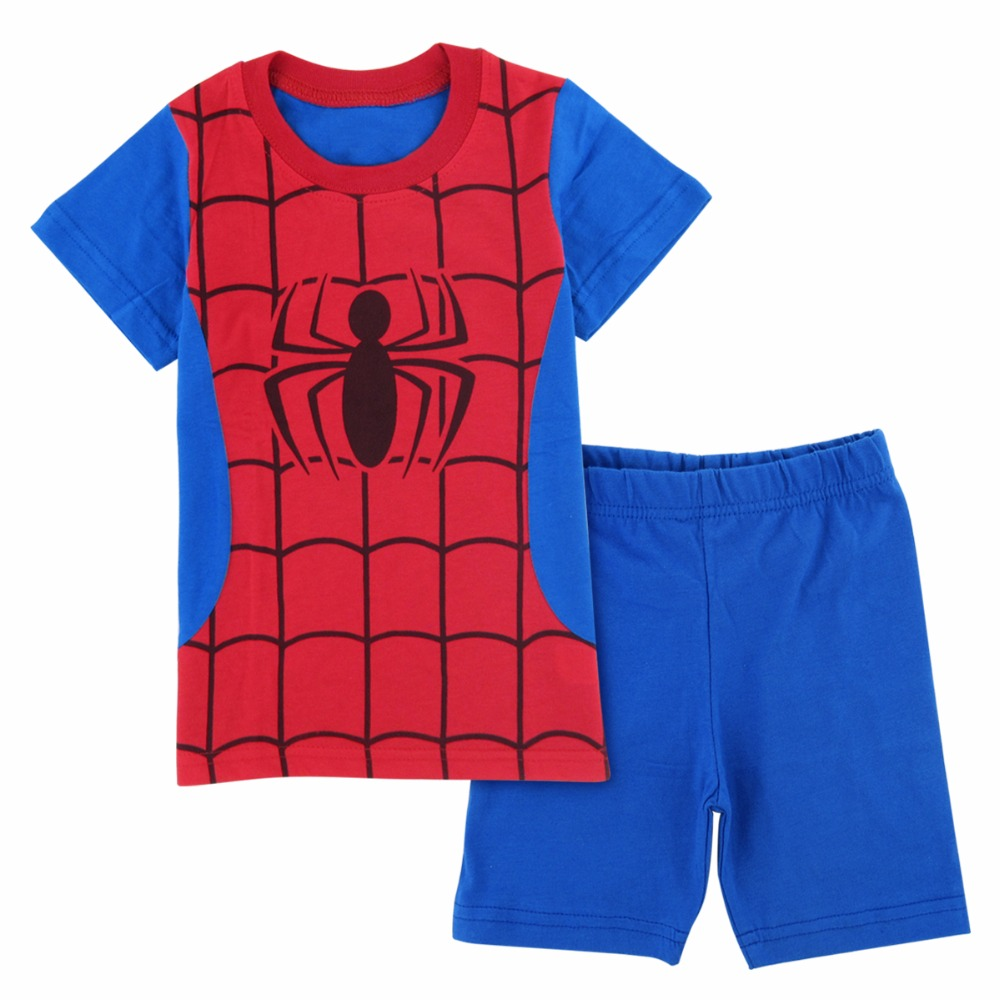 d3b8c832403 US $7.99 26% OFF|Kids Boys Spiderman Pyjama Set Toddler Superhero Pajamas  Baby Summer Cosplay Cotton Sleepwear Child The Avengers Nightwear-in Pajama  ...