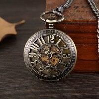 Vintage Bronze Arabic Numerals Case Skeleton Mechanical Pocket Watch Necklace Retro Hollow Chain Hand Watch Women Men Steampunk