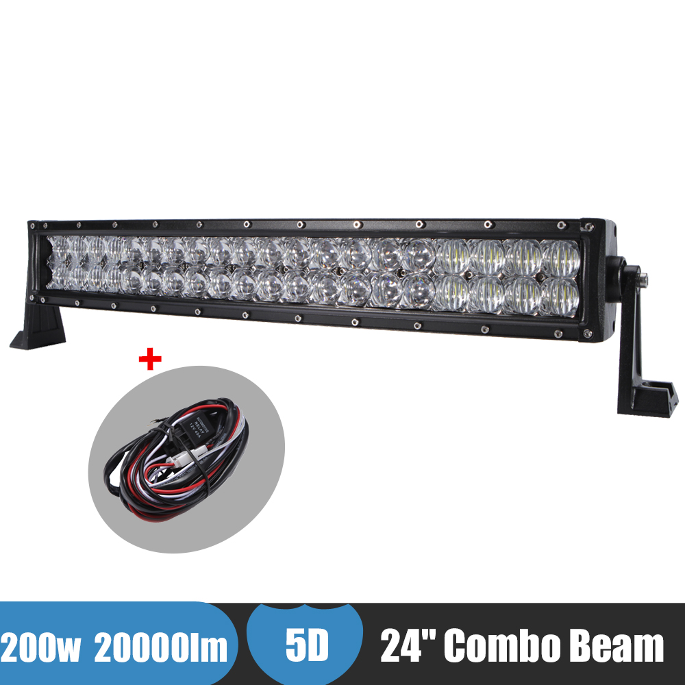 200W 24'' Curved Offroad LED light Bar 5D Combo Beam Headlight For JEEP SUV 4X4 4WD 12V 24V Day time running Lamp Truck Boat Bus auxbeam 54 312w 5d cree led light bar combo curved offroad led bar 2pcs 60w 5 led driving light for jeep truck atv suv