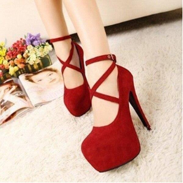 Fashion Super High Thin Heels Shoes Spring Autumn Pumps T-strap Buckle Strap Retro Round Toe Pumps Wedding Shoes Women