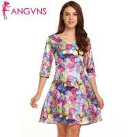 ANGVNS Women V Neck 3 4 Sleeve Dot Floral Print Satin Party Slim Fit A Line